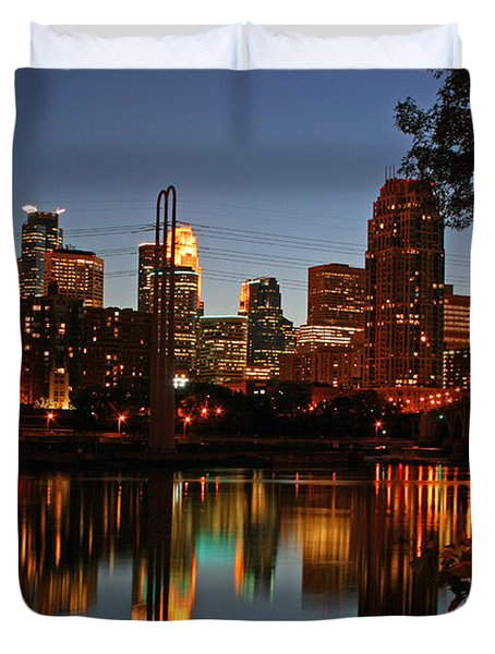 Downtown Minneapolis At Night Duvet Cover