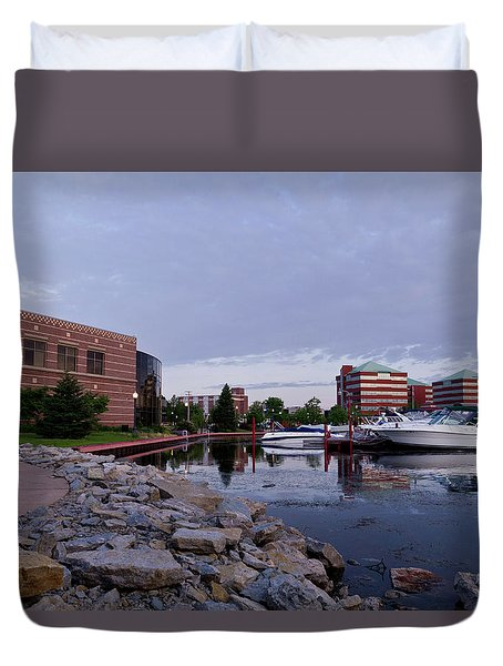 Duvet Cover featuring the photograph Downtown Neenah by Joel Witmeyer