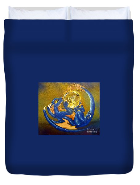 Dragon And Captured Fairy Duvet Cover