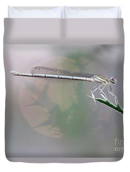 Dragonfly On Leaf Duvet Cover by Michal Boubin