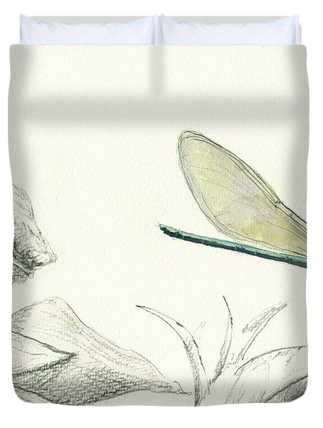 Dragonfly With Chameleon Duvet Cover