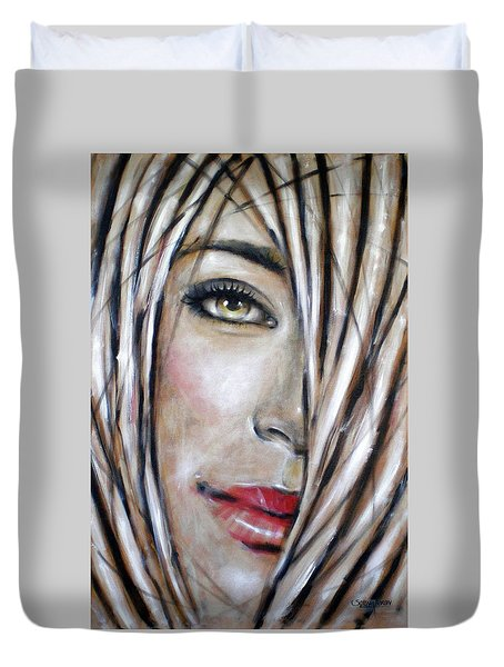 Duvet Cover featuring the painting Dream In Amber 120809 by Selena Boron