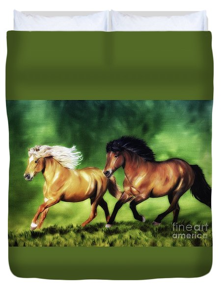 Duvet Cover featuring the painting Dream Team by Shari Nees