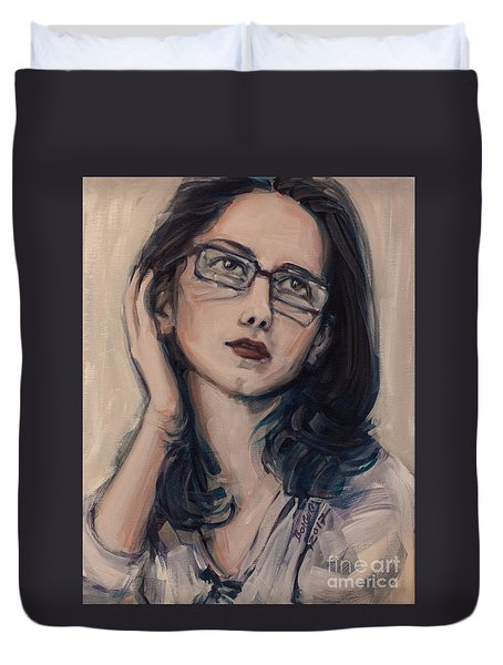 Duvet Cover featuring the painting Dreaming With Open Eyes by Olimpia - Hinamatsuri Barbu