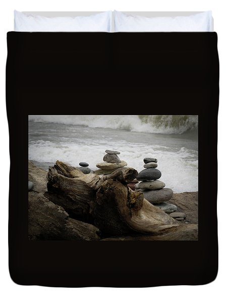 Duvet Cover featuring the photograph Driftwood Cairns by Kimberly Mackowski