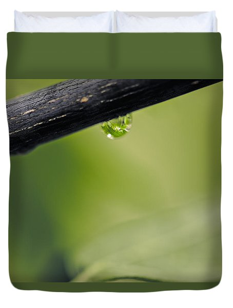 Duvet Cover featuring the photograph Droplet by Cendrine Marrouat