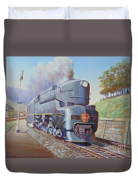 Duvet Cover featuring the painting Duplex Express by Mike Jeffries