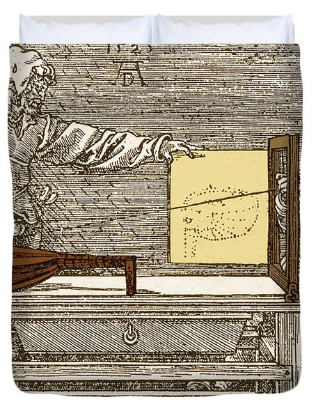 Durers Perspective Drawing Of A Lute Duvet Cover