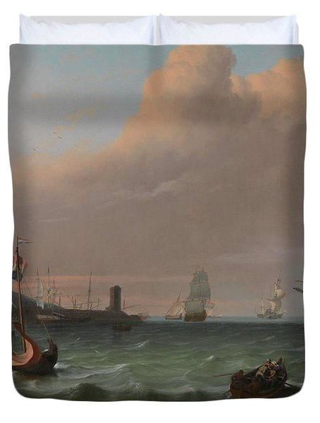 Dutch Men-of-war Entering A Mediterranean Port Duvet Cover