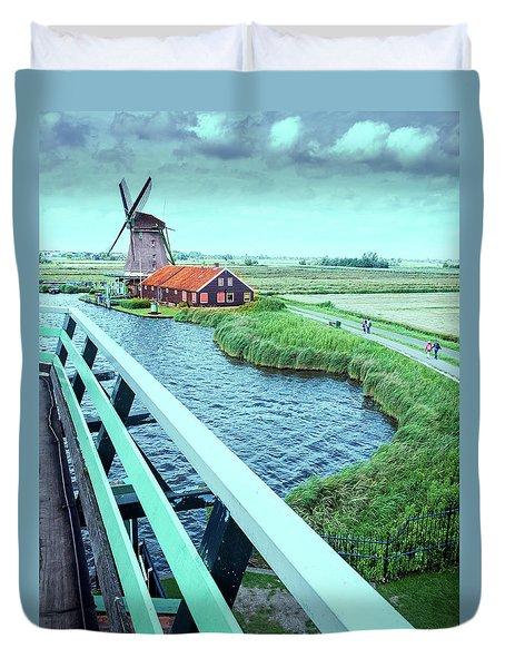 Dutch Windmills From Zaanse Schans, Amsterdam, The Netherlands Duvet Cover