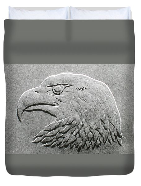 Eagle Head Relief Drawing Duvet Cover by Suhas Tavkar