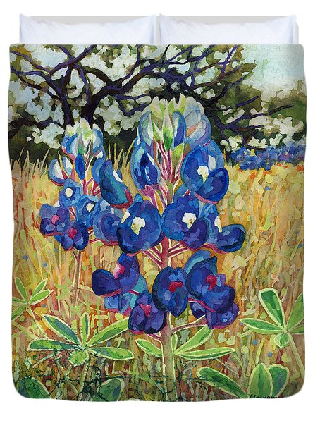 Duvet Cover featuring the painting Early Bloomers by Hailey E Herrera
