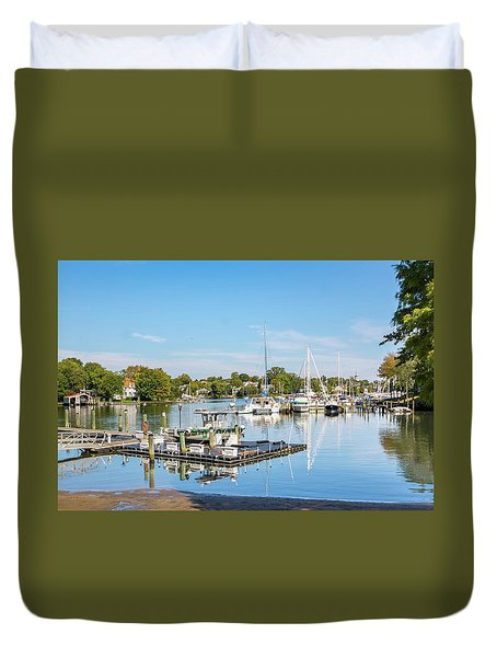 Early Fall Day On Spa Creek Duvet Cover