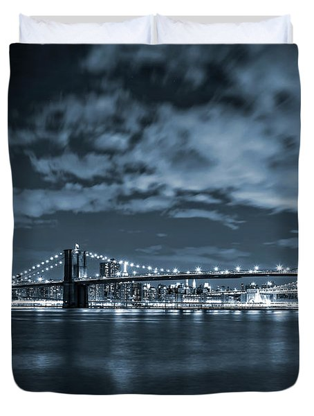 Duvet Cover featuring the photograph East River View by Az Jackson