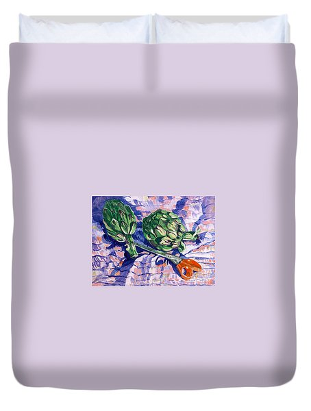 Edible Flowers Duvet Cover by Jan Bennicoff
