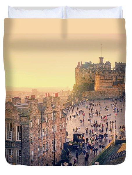 Edinburgh Castle Duvet Cover by Ray Devlin