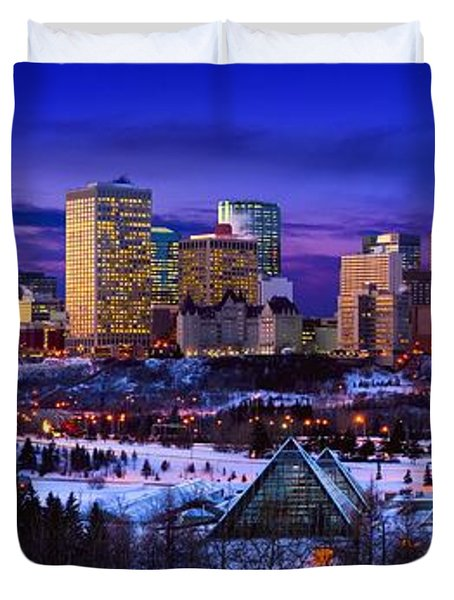 Edmonton Winter Skyline Duvet Cover by Corey Hochachka