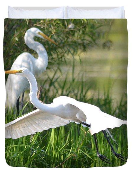Egret Takes Flight Duvet Cover