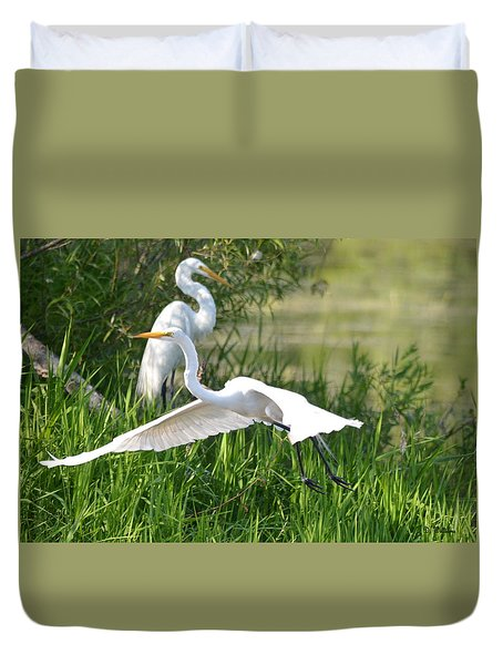 Egret Takes Flight Duvet Cover