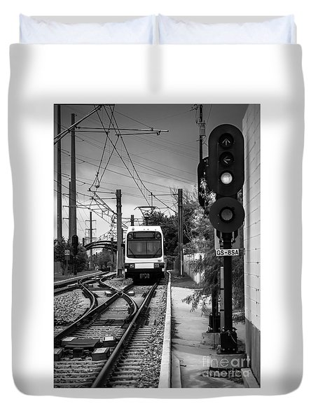 Electric Commuter Train In Bw Duvet Cover