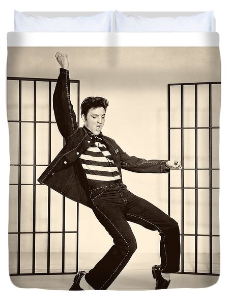 Elvis Presley In Jailhouse Rock 1957 Duvet Cover by Mountain Dreams