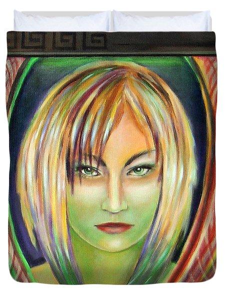Emerald Girl Duvet Cover