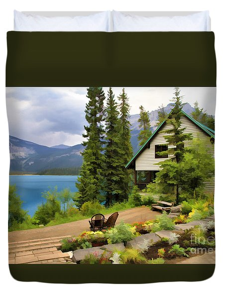 Emerald Lake Yoho National Park Duvet Cover