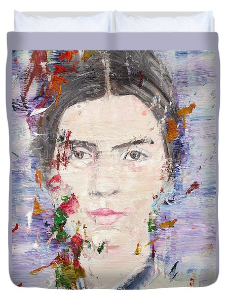 Duvet Cover featuring the painting Emily Dickinson - Oil Portrait by Fabrizio Cassetta