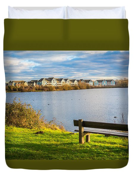 Duvet Cover featuring the photograph Empty Bench by Gary Gillette