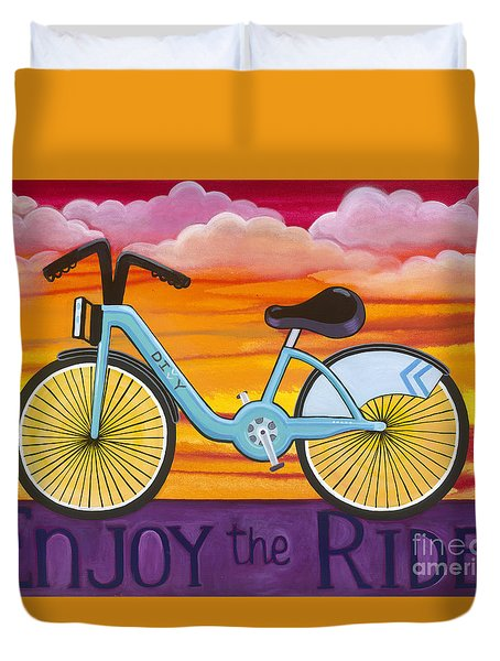 Duvet Cover featuring the painting Enjoy The Ride by Carla Bank