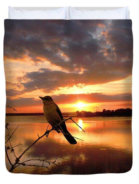 Enjoying The Sunset Duvet Cover