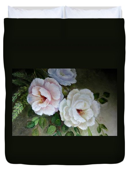 Duvet Cover featuring the painting Etre Fleur  by Patricia Schneider Mitchell