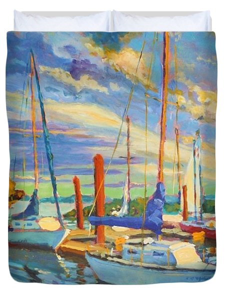 Evening At The Marina Duvet Cover by Margaret  Plumb