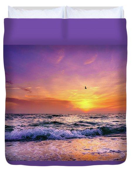 Duvet Cover featuring the photograph Evening Flight by Dmytro Korol