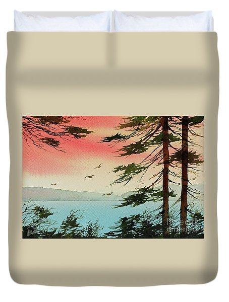 Duvet Cover featuring the painting Evening Light by James Williamson
