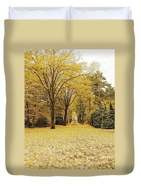 Duvet Cover featuring the photograph Carpet Of Golden Leaves by Ivy Ho