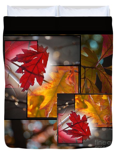 Fall Leaf Collage Duvet Cover