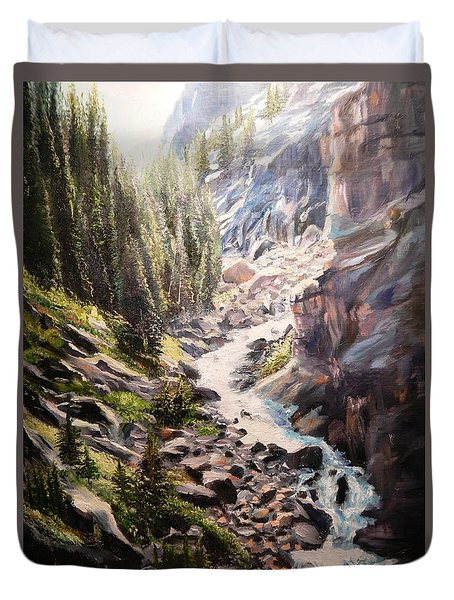 Falls Below Rimrock Lake Duvet Cover