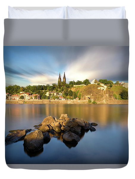 Famous Vysehrad Church During Sunny Day. Amazing Cloudy Sky In Motion. Vltava River, Prague, Czech Republic Duvet Cover