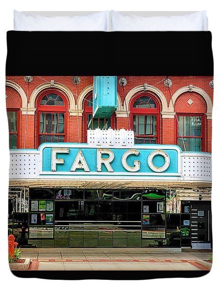 Fargo Blue Theater Sign Duvet Cover