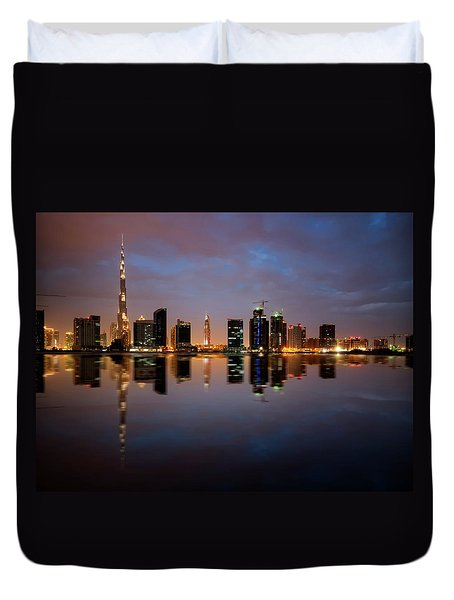 Fascinating Reflection Of Tallest Skyscrapers In Bussiness Bay D Duvet Cover