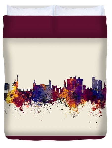 Fayetteville Arkansas Skyline Duvet Cover by Michael Tompsett