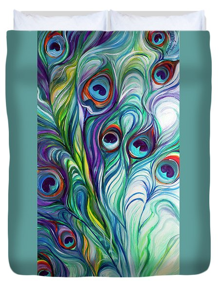 Feathers Peacock Abstract Duvet Cover