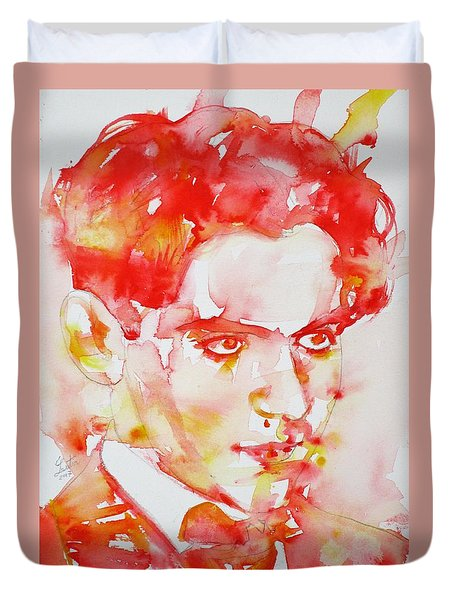 Duvet Cover featuring the painting Federico Garcia Lorca - Watercolor Portrait by Fabrizio Cassetta