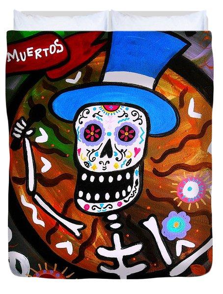 Duvet Cover featuring the painting Feliz Dia Muertos by Pristine Cartera Turkus