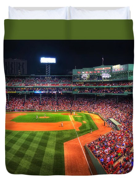 Fenway Park At Night - Boston Duvet Cover