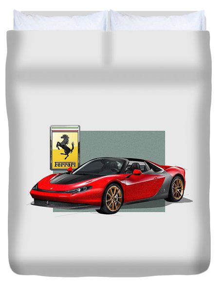 Ferrari Sergio With 3d Badge  Duvet Cover