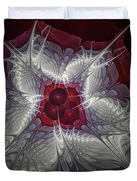 Duvet Cover featuring the digital art Festive Star by Karin Kuhlmann