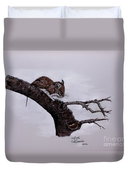 Duvet Cover featuring the painting Field Mouse by Judy Kirouac