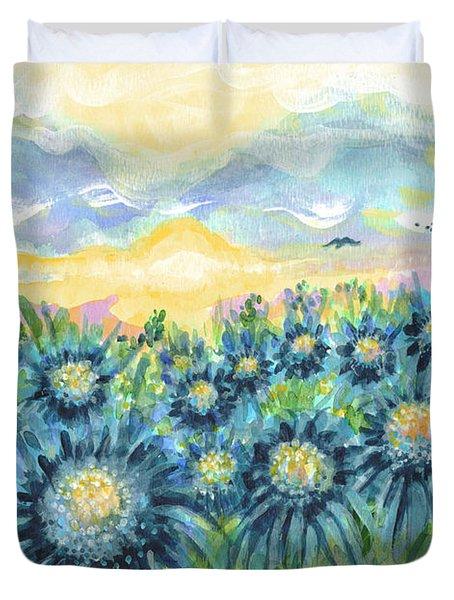 Field Of Blue Flowers Duvet Cover